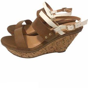 Very Volatile Wedges Sandals White and Tan Size 8